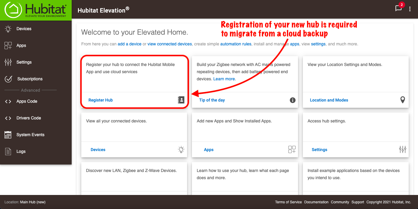 Register new hub before a cloud migration.png